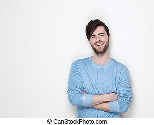 Handsome man smiling with arms crossed - Close up portrait...