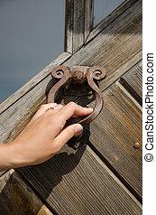 guest hand knock retro door handle buzzer ringer - guest...