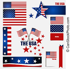 Collection of American Flags, Flags concept design Vector...