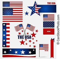Colección, norteamericano, banderas, banderas,...