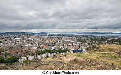 largo, vista, Edimburgo, Skyline