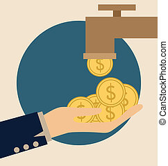 Money on hand Modern Flat design vector illustration concept...