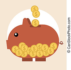 Piggy bank with coin over it. Modern Flat design vector illustra