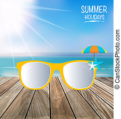 Summer holiday background. Sunglassess on wood terrace....