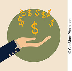 Dollar Signs on hand Modern Flat design vector illustration...