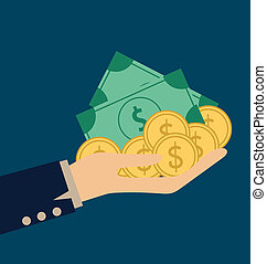 Money on hand. Modern Flat design vector illustration...