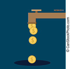 Falling gold coins. Vector illustration.