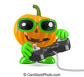 3d Pumpkin man plays a videogame - 3d render of a pumpkin...