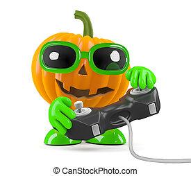 3d Pumpkin man plays a videogame - 3d render of a pumpkin...