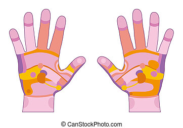 Hand reflexology pink - Hand reflexology illustration with...