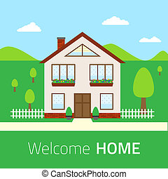 Flat Welcome home illustration - Welcome home illustration...