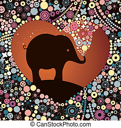 elephant lover - silhouette of a lovers elephant