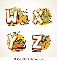 Alphabet set from W to Z