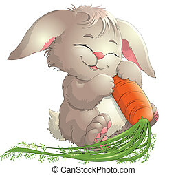 rabbit - Bunny and carrots