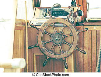 Helm - Picture of a helm of a yacht with vintage filter.