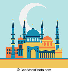 Islamic greeting card with mosque in flat design style