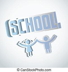 Vector Paper craft school sign design
