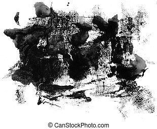 Grunge ink texture isolated on white