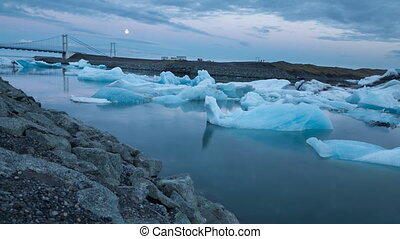 blue icebergs floating - 4K Time lapse of blue icebergs...