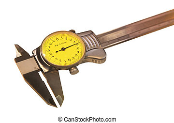 caliper - Caliper with analog indicator isolated on white...