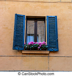 Window of a historic building with purple flowers on the sill