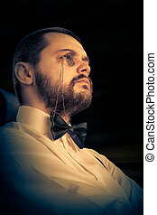 Man with Monocle and Bowtie - Gentleman wearing monocle and...