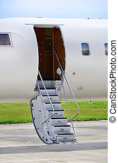 Stairs on a luxury private jet aircraft - Bombardier Global...