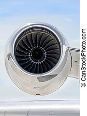 Jet Engine on a Private Plane - Bombardier - Jet Engine with...