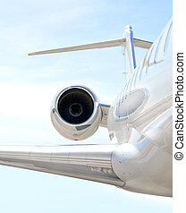 Luxury private jet plane flying - Bombardier