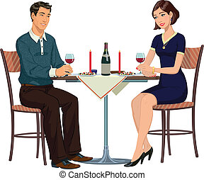Man and Woman at the table - Illust - romantic dinner in a...