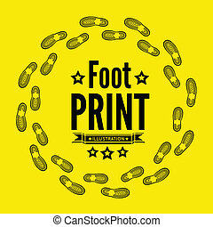 Shoe print vector illustration on yellow background