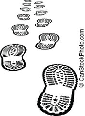Shoe print vector illustration on white background