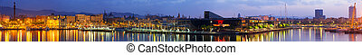 Panorama of Barcelona in sunrise. Spain - Panorama of Port...