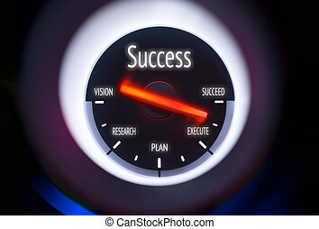 Success Concept - Success concept displayed on a gauge