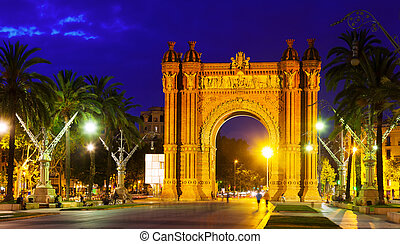 triumphal arch in night Barcelona, Spain
