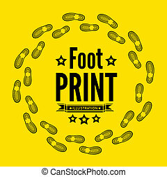 Shoe print  illustration on yellow background
