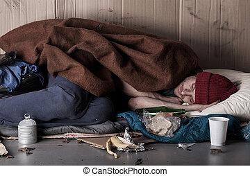 pobre, homem, dormir, rua