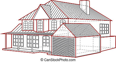 house plan with garage in three dimensions isolated on white...