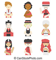 Boys in traditional clothes flat icons - Flat icons...