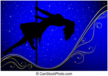 Sexy pole dancer - Silhouette of a pole dancer