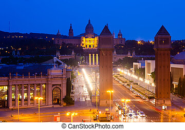night view of Square of Spain - night view of Square of...