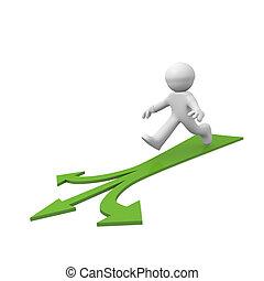 Green arrow - 3d man running on a green arrow