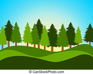 Spring Countryside Indicates Tree Trunks And Landscape