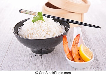 bowl of rice and shrimp