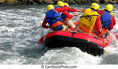 team work - the spirit of team work in rafting competition
