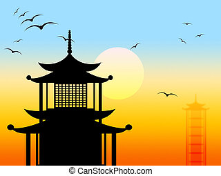 Pagoda Silhouette Represents Zen Japanese And Profile