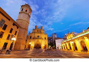 Fadri tower and Cathedral at Castellon de la Plana in night...