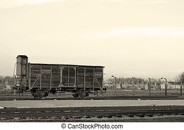 Deportation wagon at Auschwitz Birkenau concentration camp,...
