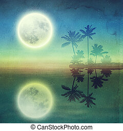 Sea with island with palm trees and full moon at night....