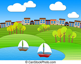Sea Landscape Represents Meadow Relaxing And Meadows